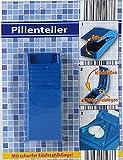 Pillenteiler mit Edelstahlklinge35x85mm weiss ABS Kunststoff blau
