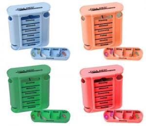 Pillenbox dm vs. Tablettenbox 4er Set Pillenbox Pillendose 7 Tage Medikamenten Dosierer Spender